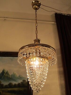 Antique French Basket Style Swarovski Cut Crystal Chandelier Light 1940's 10 in