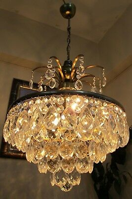 Antique Vintage French Basket Style Crystal Chandelier Luster Light 1960's.16 in