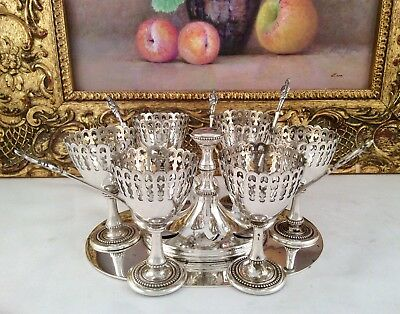 Antique  Silver Plated Silver Plated 6 Egg Cruet Set, Caddy & Spoons C1900