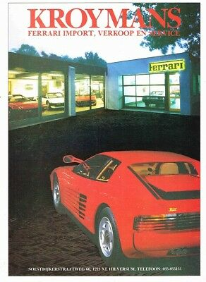 1987 Ferrari Testarossa Kroymans (Dutch, 1pg.) Advertisement (AAE.387)