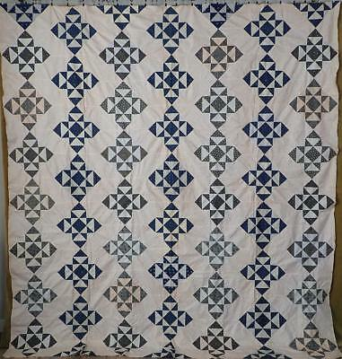 Indigo Blue + Shirting Prints c1880 Antique Eight Point Star QUILT TOP 95x87