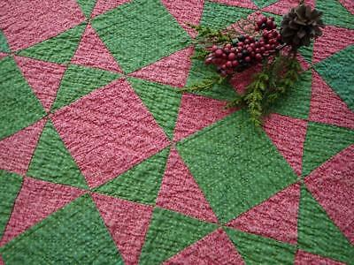 Antique Red Pink & Green Table Crib Quilt 23x22