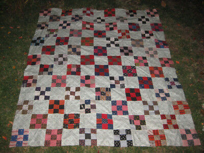 "Vintage Nine Patch Checkerboard Quilt Top 76"" x 92"" Very Nice Use of Color"