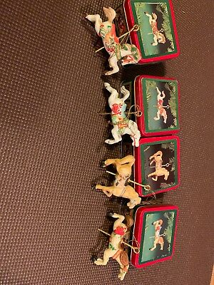 Willitts Christmas Ceramic Carousel Horse Classic Collectible Ornaments In Tins