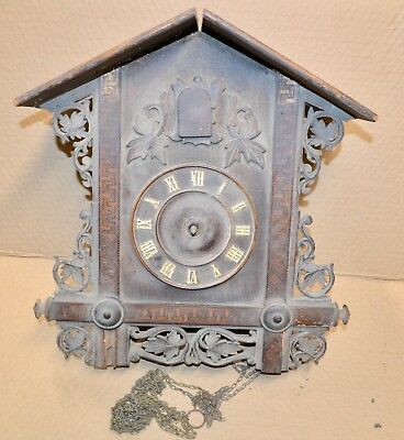 Large Inlaid Antique Cuckoo Clock for Parts Movement Case Chains & Dial
