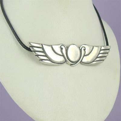 Ra Pendant Necklace 0.925 Sterling Silver Leather Cord Egyptian Sun God