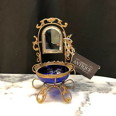 Antique French Cobalt Glass Footed Jewelry Bowl w/ bevelled mirror