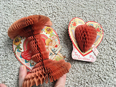 2 Antique VALENTINES Beistle USA Fold Out Stand Up VALENTINE Cards Honeycomb
