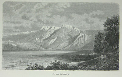 Caldonazzo, See, Holzstich, ca. 1880, 19 x 11 cm