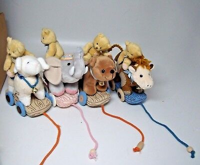 Enesco Cherished Teddies Plush Pull A-long Toys W Tags Set of 4 with cow