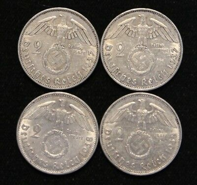 Four Coin WWII Germany Two Reichsmark Silver coins 1937-A & 1938-B Circulated