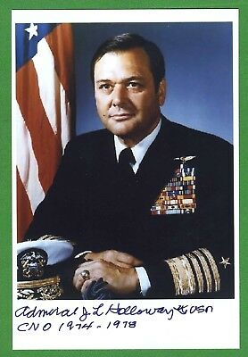 Adm. James Holloway 1st Cmdr. Nuclear Carrier, Fighter Pilot Signed Photo E18576