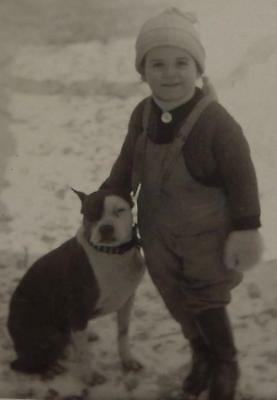 Vintage Real Photo Postcard Pit Bull Terrier Dog Spiked Collar Cute Little Girl