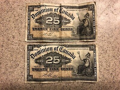 2 1900 25 Cent Candadian Notes