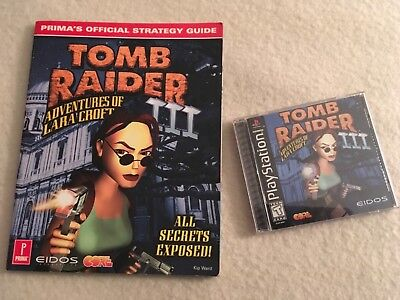 PlayStation PS1 Video Game Tomb Raider III & Strategy Guide