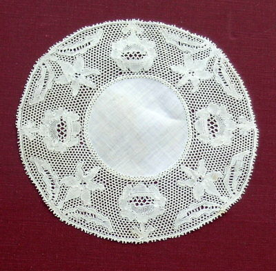 Antique  Handmade Point de Paris Bobbin Lace   Doily Coaster