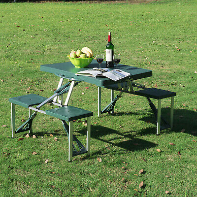 Folding Camping Picnic Table Party Outdoor Garden BBQ Chairs Stools Set Portable