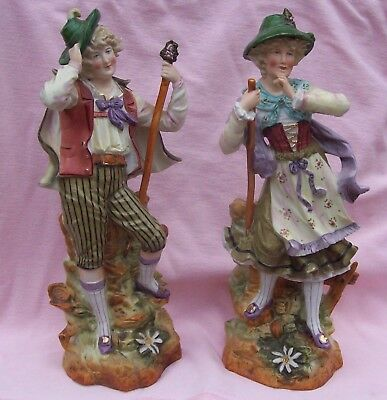 Vintage Antique Victorian German Bisque Doll Figurine Pair Ornate Statue Heubach