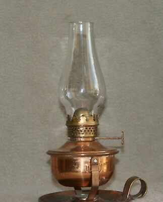 Cute Vintage Copper Miniature Oil Lantern With Old Glass Chimney