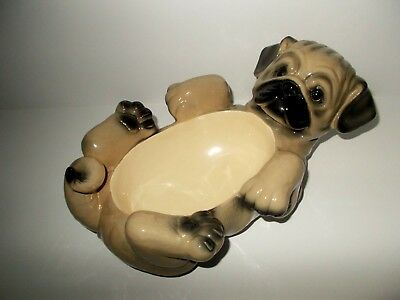 Large Pug Dog Serving Dish Bowl Big Sky Canine Design By Dorothy Driscoll 2003