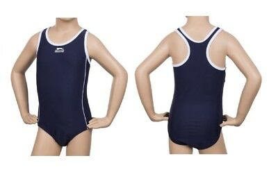 Girls Slazenger Navy Blue Racer Swimwear Bathing Suit Swimsuit