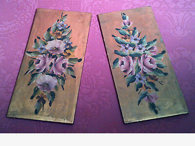 Pair of original oil paintings on wood: ROSES floral bouquet, gold leaf ground