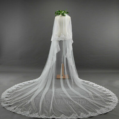 New Bridal Wedding Veil Cathedral Long Two Tier With Comb lace 3M soft net Veils