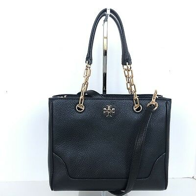 10e5a408ca6 TORY BURCH BLACK Leather Charlie Small Convertible Tote NWT  398 ...