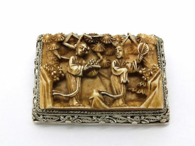 Vintage Chinese Brooch - Carved Scene and Silver China