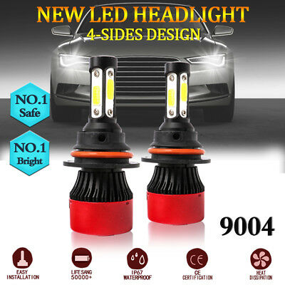 9004 HB1 4-Sides LED Headlight Bulbs 16000LM 6000K 72W High Low Beam White Lamp