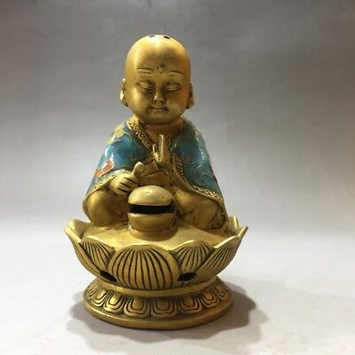 Collect China rare pure carved Cloisonne Monk incense burner xuande mark Gift