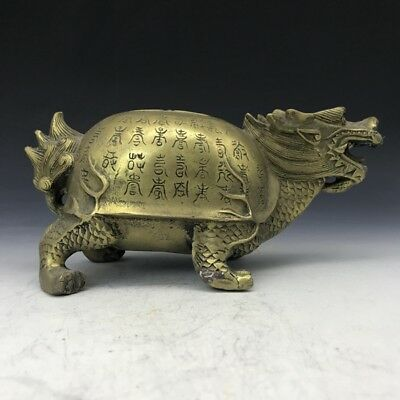 "7.9"" Exquisite collect China Old carving dragon turtle copper statue Gift RT"