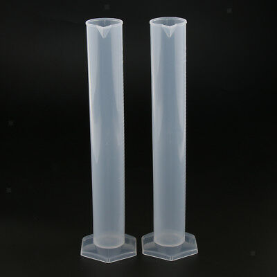 2Pcs 250ml Plastic Measuring Cylinder with Scale Laboratory Supplies