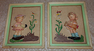 Pair of Vintage Figural 3-D Pictures Little Girl Made In ITALY Old