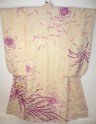 1920s SUPERB JAPANESE VINTAGE SILK HAND CRAFTED PICTORIAL TOMESODE KIMONO