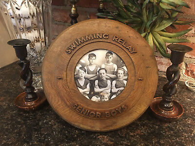 Antique English Carved Oak Round Frame Senior Boys Swimming Relay Trophy
