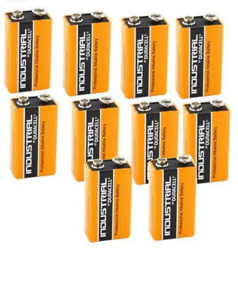 10x Duracell Industrial 9V PP3 MN1604 Block Alkaline Batteries Replaces Procell