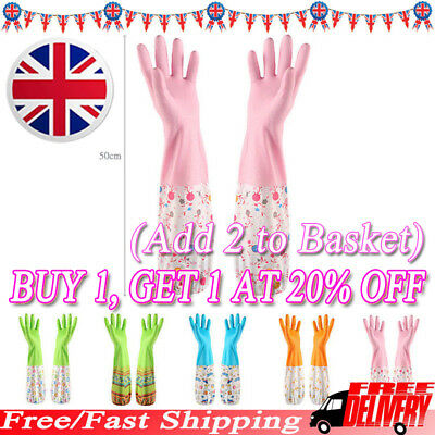 Washing Up Glove Long Sleeve Household Kitchen Dishes Cleaning Gloves PVC UK LO1