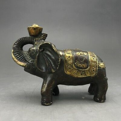 Exquisite collect China Old carving copper statue-Elephant Gift