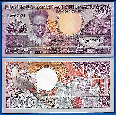 Suriname P-133a 100 Gulden 1986 Uncirculated Banknote South America