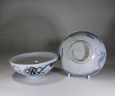Antique Chinese Blue & White Porcelain Bowl Pair Transitional Period 1590-1640