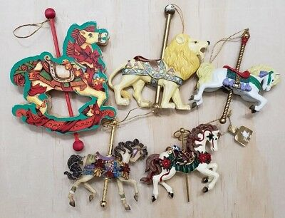 Lot of 5 Carousel Christmas Ornaments Wood Wooden Rocking Horse Lion Vintage