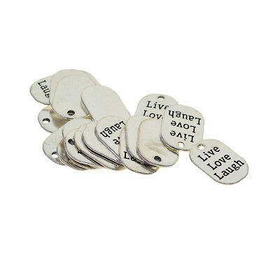 20x Live Love Laugh Tags Charms Pendant Findings Jewelry Making Accessories