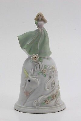 1988 Enesco Bisque Bell with Unicorn and Princess, Roses.