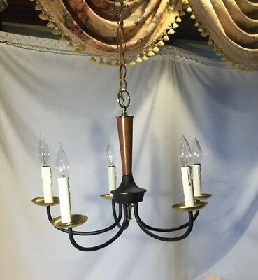 Vtg.Chandelier 5 Arm 1960s Signed Progress Mid Century Modern Colonial Farmhouse