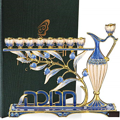 Matashi Hand Painted Enamel Menorah Candelabra Embellished with Gold Accents and