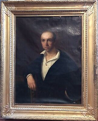 HUGE MID 19th CENTURY GERMAN OIL - PORTRAIT OF MAN IN WHITE SHIRT - PERIOD FRAME