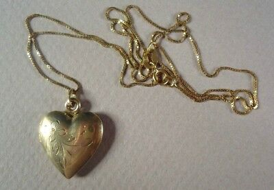Vintage 14K Yellow Gold Floral Engraved Heart Locket Pendant Necklace, 4.0g
