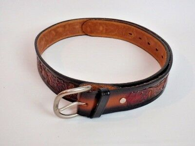 Mens Western Cowboy Belt Tooled Leather Size 38 Red Roses Brazos Joe Brown Retro
