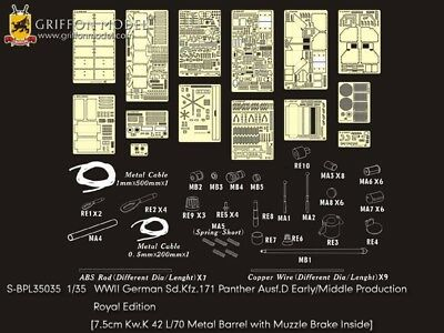 Griffon S-BPL35035 1/35 Panther Ausf.D Early/Middle Detail Set (Royal Edition)